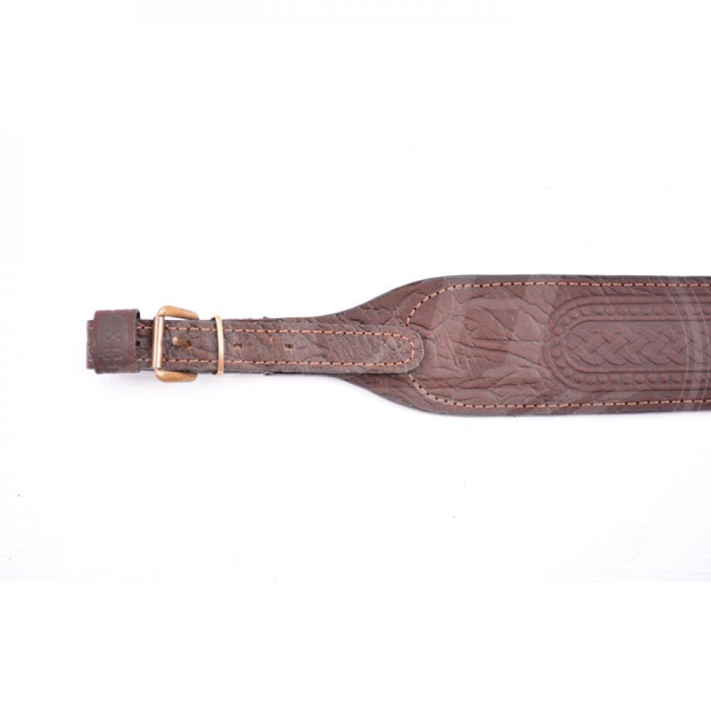 Ремень ружейный фигурный (кожа/кожа тисненый с пряжкой)