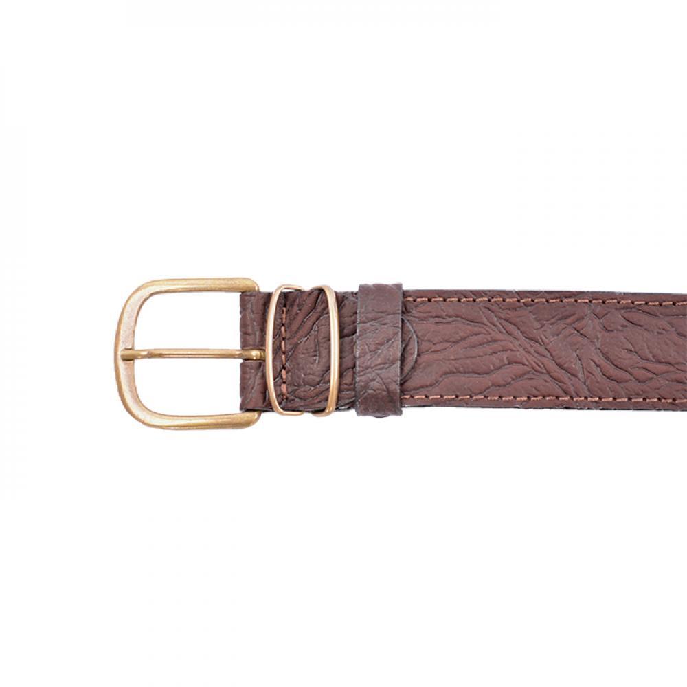 Ремень поясной брючный коричневый 35 мм (кожа/велюр)