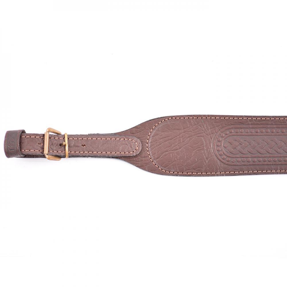 Ремень ружейный фигурный (кожа/велюр тисненый с пряжкой)