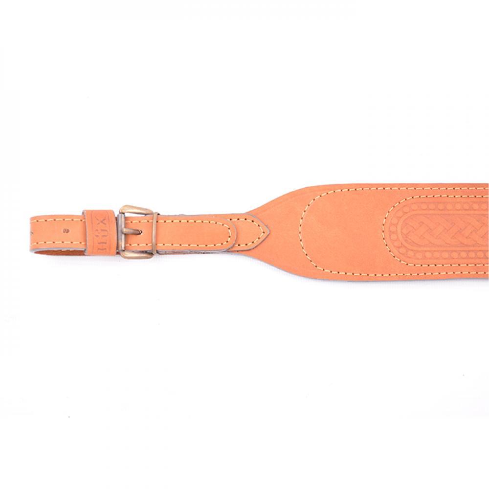 Ремень ружейный фигурный кожа/велюр тисненый с пряжкой (I)