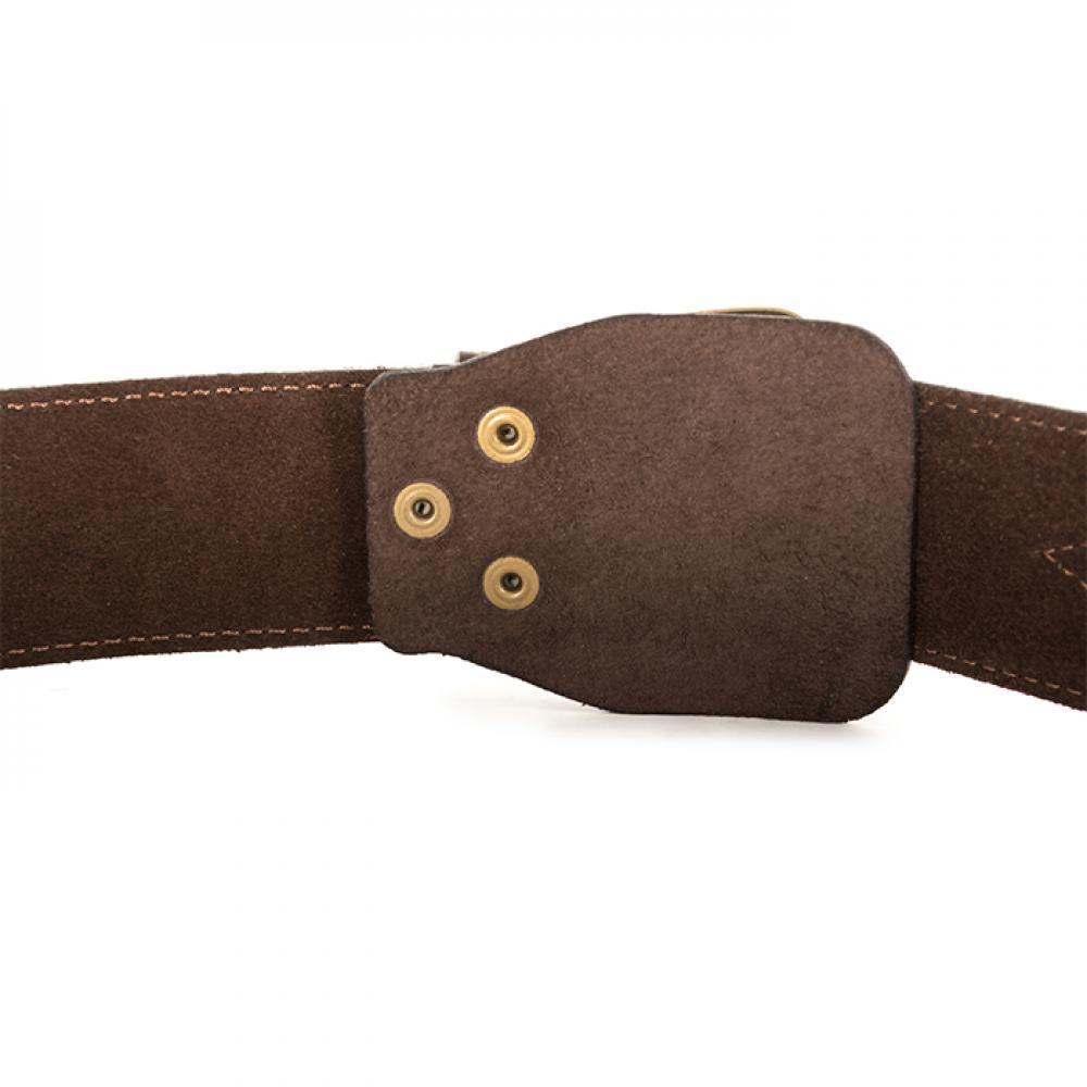 Ремень офицерский элитный коричневый 50 мм кожа/велюр  (№ 1 - 4)